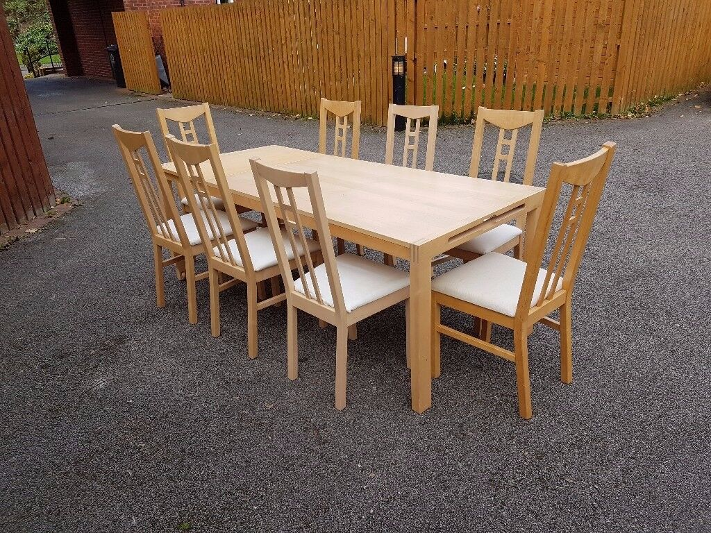 Ikea Solid Wood Extending Table & 8 Chairs Fabric Seats FREE DELIVERY 084