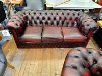 Chesterfield leather sofa 3seater & chair