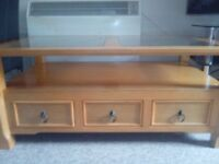 Wood and Glass Coffee Table with 3 Draws in Good Condition