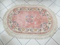 Chinese Pink Oval Abusson design 100% wool Rug with Tassels