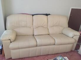 3 seater leather sofa, armchair, and recliner. G-Plan