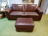 Free local delivery Brown leather sofa and pouffee