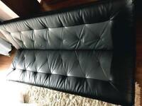 Black grey faux leather sofa bed like new delivery available