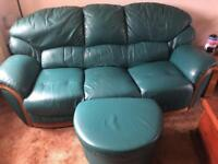 3 piece leather suite with storage footstool