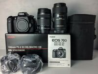 Canon 70D EOS 20.2MP DSLR with 18-135mm IS STM Lens and Sigma 105mm f/2.8 EX DG OS HSM Macro Lens