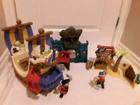 Fisher price priate ship with sounds& flashing lights skull castle