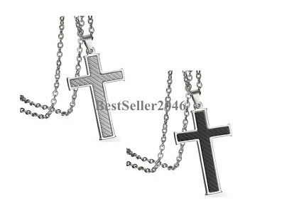Stainless Steel Carbon Fiber Cross Necklace for Men Boys Chain Necklace 22