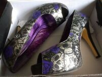 Iron Fist Silver Skull and Purple Rose Stilettos Size 6