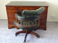 Leather Top Pedestal Writing Office Desk (Key) & Chesterfield Captains Chair