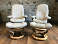 STRESSLESS CONSUL CHAIRS AND FOOTSTOOLS X 2