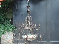 A MAGNIFICANT LACQUERED BRONZE ROCCOCO STYLE 15 LIGHT CHANDELIER