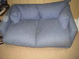 SOFA BED/FUTON - BLUE COTTON. SUITABLE FOR BEDROOM, SNUG, TEENAGE ROOM, MAN SHED,SUMMERHOUSE