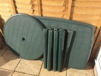 2 x Green Plastic Garden Tables