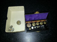 Philip Harris laboratory weights in box plus some spares vintage