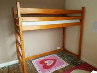 Solid pine shorty loft bed and mattress