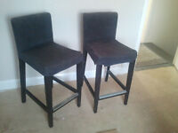 Bar Stools x 2 - from Next. Grey Cushion on black wood frame