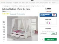 Mia girls single four poster bed with drapes. Brand new.