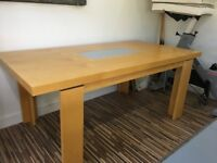 John Lewis beech dining table with 6 faux suede chairs - Used