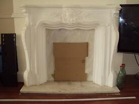 louis xvll plaster fire place with marble hearth and back plate