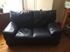 Two Seater Leather Sofa (Navy Blue) FREE