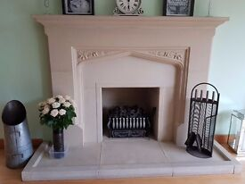 Stone fireplace surround, hearth & gas fire basket