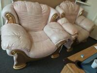 Free Italian 4Piece Genuine Leather Suite / Settee (TAN) FREE TO A GOOD HOME ASAP!