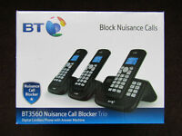 BT Triple Digital Cordless Landline Home Phone with Answer Machine Block Nuisance New Boxed