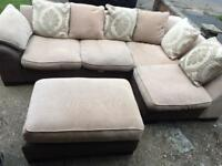 DFS brown and beige corner sofa with footstool in very good condition