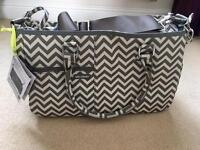 New Melobaby Grey chevron changing bag