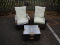 Brown Rattan 2 Chairs and coffee table + Glass Garden Outside Patio Furniture