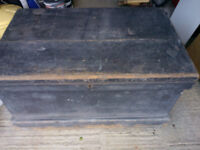 Victorian Wood Sea Chest with internal compartments, rope handles and key