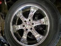 """20"""" boss chrome rims and tires for ford 6bolt pick up"""