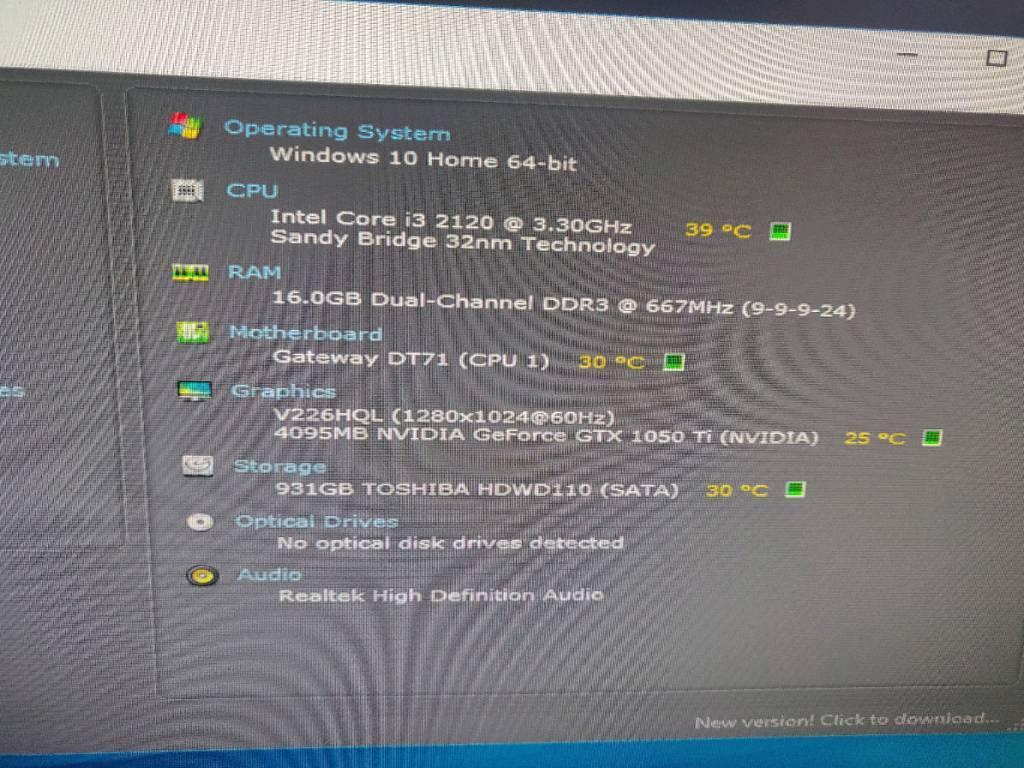 Windows 10 Intel Core I3 2120 330ghz 16gb Nvidia Gtx 1050ti Desktop Excellent Condition