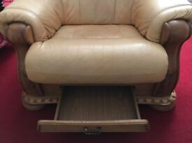 Real Leather Sofa and matching chair with drawers built-in