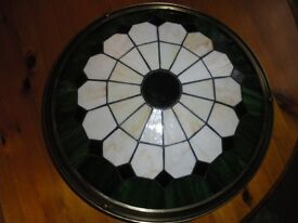 Tiffany style green & cream up lighter shade, 42cms diameter, used
