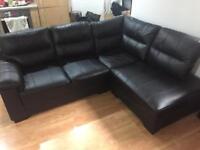 Corner Black Sofa Real Leather New