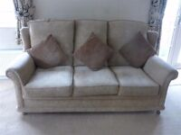 3 seater settee and Arm chair + stool with storage