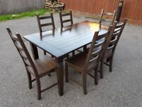 Solid Dark Wood Extending & 6 Ikea Kausby Chairs FREE DELIVERY 240
