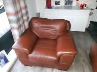 brown leather chaise longue sofa and armchair