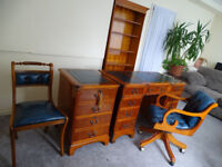 HOME OFFICE SET:OFFICE DESK,CHESTERFIELD CAPTAINS OFFICE CHAIR,CHAIR,FILING CABINET,BOOKCASE