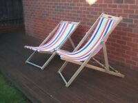 REDUCED! Two nice deckchairs. Very good condition. It's winter...now think SUMMER!
