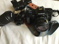 Olympus OM101 power focus camera, flash, battery charger and 70-210 lens