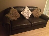 BROWN LEATHER SOFA 3 seater 2 x single chairs. Quality leather excellent condition must see