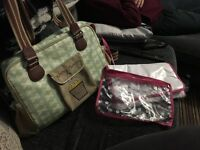 Yummy mummy green bow changing bag