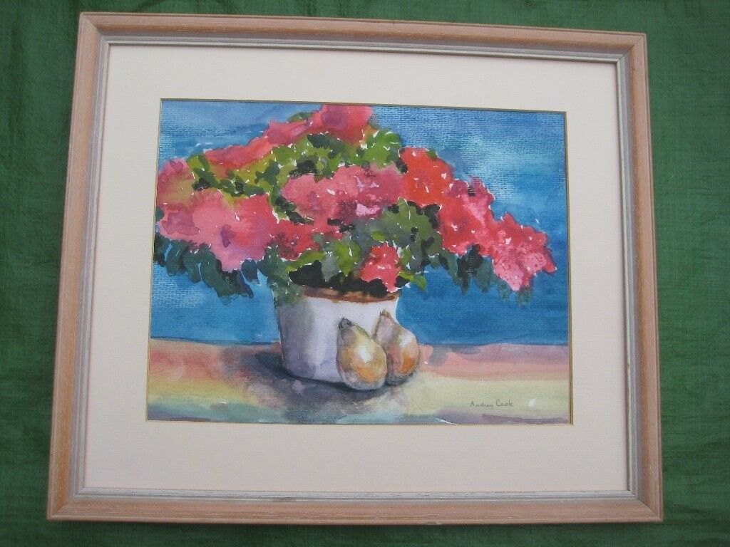 Flowers with Fruit Pastel Painting by Audrey Cook
