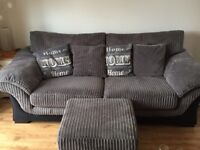 3 seater sofa with poof all in great condition