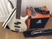 Bass guitar and Orange Practice Amp