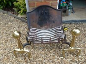 Brass Fronted Fire Dogs, Cast Iron Swans Nest Grate and Cast Iron Fire Back