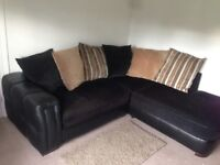DFS Sofaworks Leather & Fabric Corner Couch, Chair & Footstool