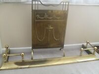 BRASS FENDER PLUS BRASS FIRE GUARD BOTH ITEMS ARE USED , IN VERY GOOD CONDITION..